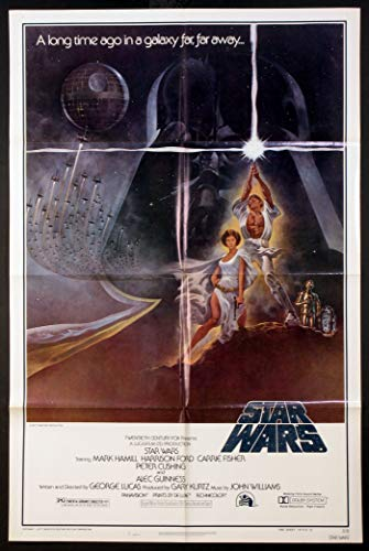 STAR WARS GEORGE LUCAS 1977 STYLE A ORIGINAL 27X41 ONE SHEET NSS 77/21 NEAR MINT 2ND PRINTING