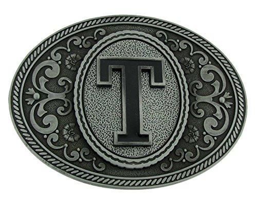 Greek Belt Buckles - Initial Belt Buckle T US American Alphabet Antiqued Finish Cowboy Western Style