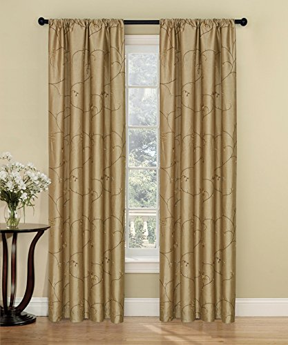 2 Piece Set AVALON Embroidered Floral Rod Pocket Window Curtain 54x84 in Tan color