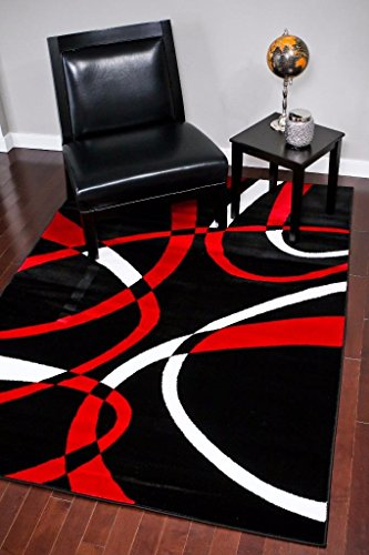 2305 Black Red White Multi 5-feet 2-inch by 7-feet 2-inch Modern Area Rugs Modern ()
