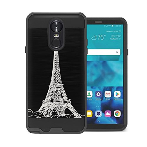 Capsule Case Compatible with LG Stylus 4, LG Stylo 4 (Year 2018), LG Stylus Q [Hybrid Fusion Dual Layer Slick Armor Case Black] for LG Stylo 4 - (Eiffel Tower ()
