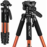 Mactrem PT55 Travel Camera Tripod Lightweight Aluminum for DSLR SLR Canon Nikon Sony Olympus DV with Carry Bag -11 lbs(5kg) Load (Orange)