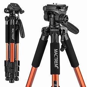 Mactrem PT55 Travel Camera Tripod Lightweight Aluminum for DSLR SLR Canon Nikon Sony Olympus DV with Carry Bag -11 lbs(5kg) Load (Orange)