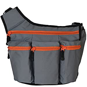 Diaper Dude Messenger Diaper Bag for Dads, Gray with Orange Zippers
