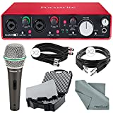 Focusrite Scarlett 2i4 USB Audio Interface (2nd Generation) and Deluxe Accessory Bundle with Protective Case + Dynamic Microphone + Cables + More