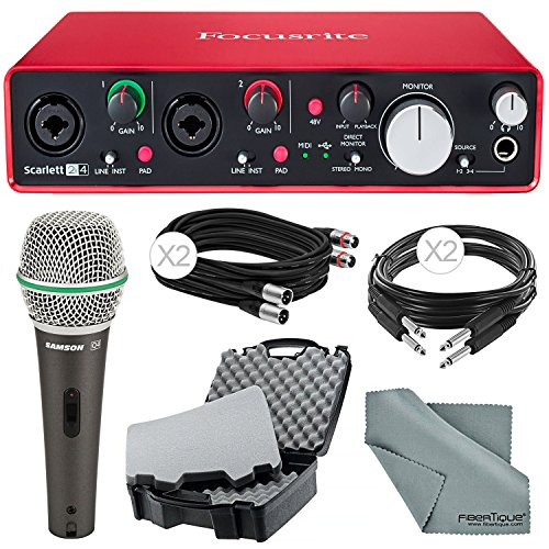 Focusrite Scarlett 2i4 USB Audio Interface (2nd Generation) and Deluxe Accessory Bundle with Protective Case + Dynamic Microphone + Cables + More by Focusrite