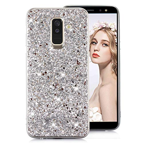 Shiny Sparkly Case for Samsung A8 Plus 2018 [with HD Screen Protector],MOIKY Luxury Bling Glitter Gel TPU Silicone Scratchproof Ultra Thin Soft Bumper Case for Samsung Galaxy A8 Plus 2018,Silver