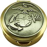 Son Sales United States Marine Corps Polished Brass Pill/Keepsake Box, Pyx with detailed Marine Corps Pewter military logo