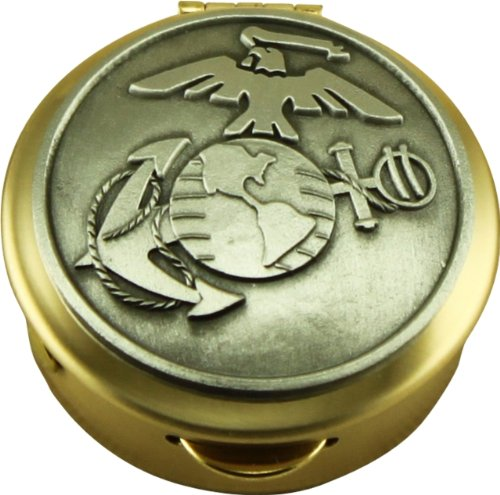 Corps Polished Brass Pill/Keepsake Box, Pyx with detailed Marine Corps Pewter military logo (Marine Keepsake Box)