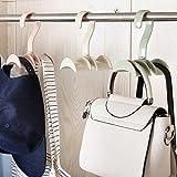 HOUTBY™ Bag Storage Racks Rotatable Bag Hanger Wardrobe Hangers Strong Necktie Belt Hooks Hand Bag Holder Plastic Hook