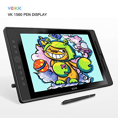 Drawing Monitor VEIKK 15.6 inch Full HD IPS Graphics Display Tablet with 8192 Level Battery Free Pen Stylus