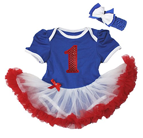 4th July Sequin Red 1st Blue Bodysuit White Red Baby Dress Nb-18m (12-18month)