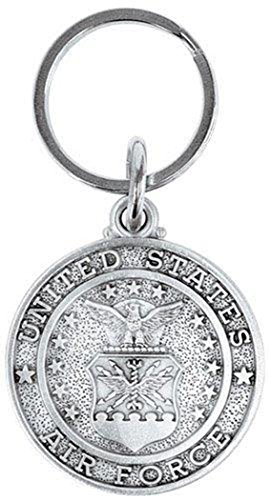 Pewter God Bless America Saint Christopher Military Medal Key Chain, 1 1/2 Inch (US Air Force) (Dia Cross Necklace)
