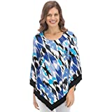 Women's Abstract Printed Top with Handkerchief Hem, Blue Multi, X-Large - Made in the USA