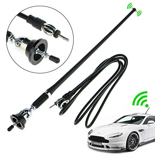 EEEKit Universal 16Inch Car Stereo Auto Roof Fender Radio Signal Antenna Fm Am Wing Mount Aerial, Extendable 130cm Replacement Wire