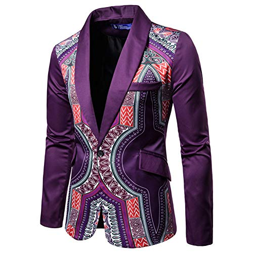 Men's Print One Button Suit Dress Ethnic Style Party Fashion Slim Blazer Suit Purple