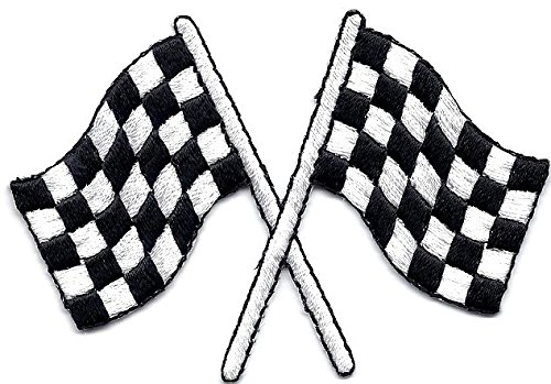 RACING-CHECKERED CROSSED FLAGS/ Iron On Patch/Racing, NASCAR, Car (Nascar Race Packages)