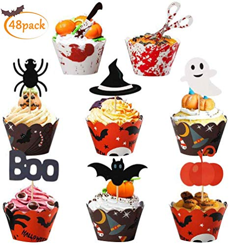 Toppers Magdalenas Cupcake - Adorno Murciélago Fantasma Calabaza Decoración de Halloween 48pcs - Tienda ONline - Envíos Baratos o Gratis