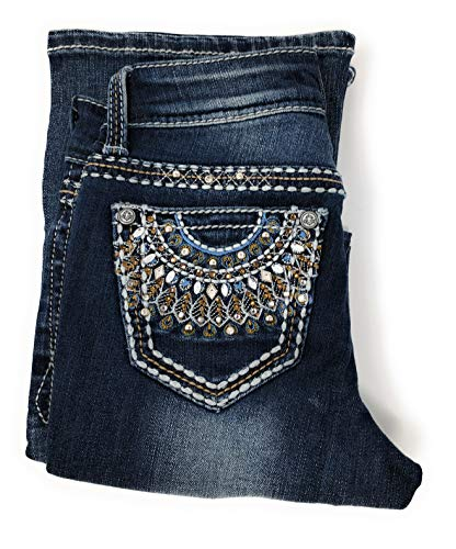 Peacock Embroidered Jean - Nickanny's Big Girls Bootcut Fashion Jeans w/Embellished Bling Embroidered Pocket (Peacock, 12)