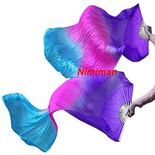 Nimiman 100% Silk Belly Dance Silk Fan Veils Belly Dancing Accessories Purple Rose Turquoise (1.5m)