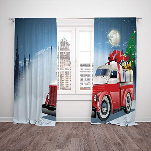 Satin Window Drapes Kitchen Curtains,Christmas,Red and White American Truck in December Winter Night Moon and Stars Tree,Blue Red White,Living Room Bedroom Kitchen Cafe Window Drapes 2 Panel Set