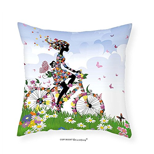 VROSELV Custom Cotton Linen Pillowcase Outdoor Woman Riding Vintage Romantic Bike with Spring Time Flowers in Basket Nature Image for Bedroom Living Room Dorm Multicolor 18