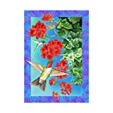 Garden Decorative Flag Hummingbird And The Hydrangea Banner Outdoors Flags Of Double Sided Waterproof And Fade Resistant Printed banners 28 X 40 Inch 100% Polyester