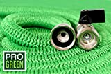 All New 2018 Heavy Duty 100' Expandable Garden Hose by Pro Green | Full Warranty | Garden Hose Nickel Plated Brass Fittings | Nozzle Included | Retractable in Seconds