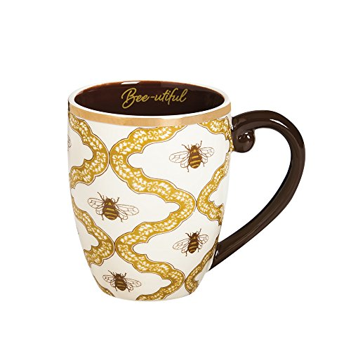 "Cypress Home Metallic Bee-utiful Botanical Garden 18 oz Ceramic Cup O' Joe Coffee Mug or Tea Cup - 4""W x 5.75""D x 5""H"