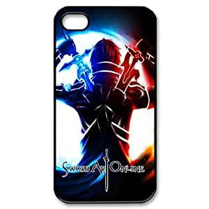 4s Case, iPhone 4 4s Case - Fashion Style New SAO Sword Art Online Painted Pattern TPU Soft Cover Case for iPhone 4/4s(Black/white) by Maris's Diary