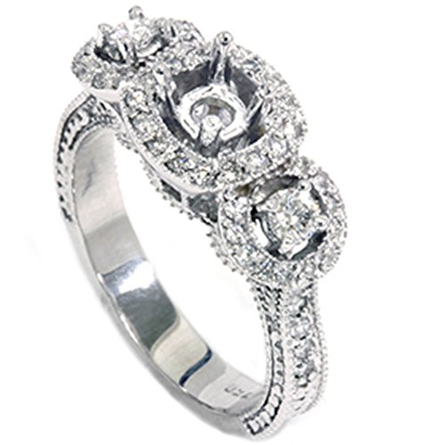 1/2ct SI Vintage Diamond Engagement Engraved Mounting - Size 9.5
