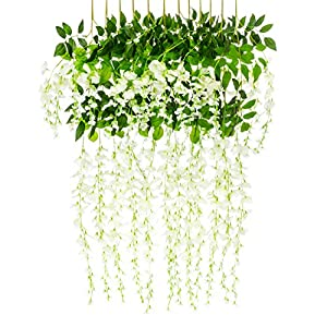 Best Choice Products 12-Pack 3.6ft Artificial Silk Wisteria Vine Hanging Flower Rattan Decor for Weddings, Home - White 1