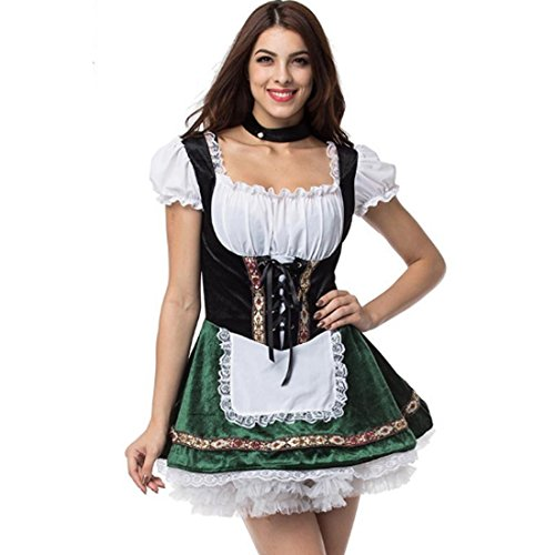Beer Girl Oktoberfest Halloween Costumes For Women Cospaly Beer Maid Plus Size Fancy French Maid Dresses (3XL/4XL) - Womens Plus Size Oktoberfest Fraulein Costumes