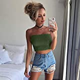 Liraly Tank Tops For Women New Fashion Sexy Women Strapless Elastic Boob Bandeau Tube Tops Bra Lingerie Breast Wrap(US-8 /CN-L,Green)