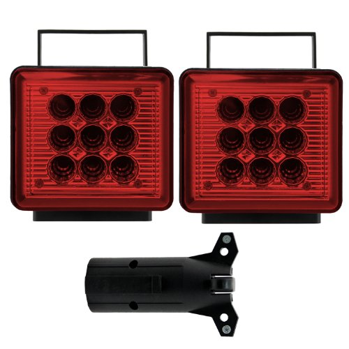 (Bully NV-5164 Wireless Trailer Red LED Light Kit with Magnetic Base for RV, Campers, Boats, Farming Equipment, Long Trailers, and Tow Trucks - Requires 12AA Battery)