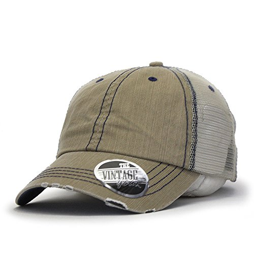 Vintage Year Washed Cotton Low Profile Mesh Adjustable Trucker Baseball Cap (Distressed Khaki)