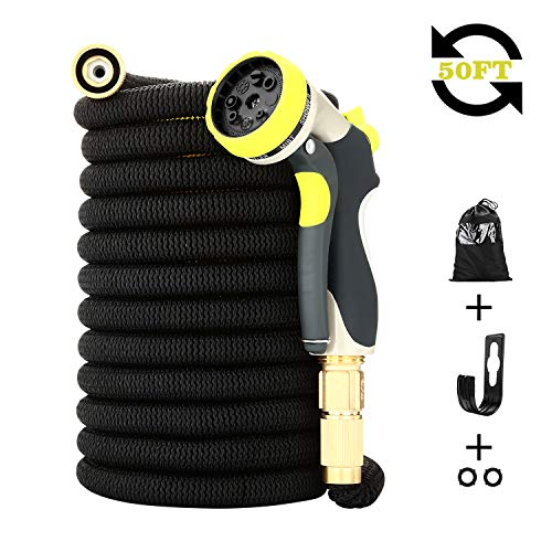 DOYES Expandable Garden Hose 50-ft Flexible Water Hose with Durable Latex Core, Solid Brass Fittings Super Strength Fabric 8 Pattern Spray Nozzle-Upgraded(Black)