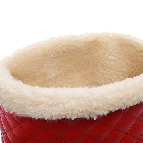 AllhqFashion Mujeres Mini Tacón PU Sólido Sin Cordones Puntera Redonda Botas Rojo