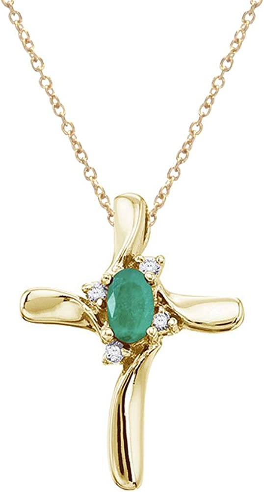 14 K oro amarillo esmeralda y diamante de colgante en forma de cruz