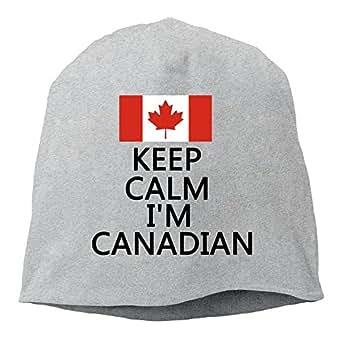 Keep Calm I'm Canadian, Canada Pride, Canadian Flag Unisex,Women/Men Wool Hat Soft Stretch Beanies Skull Cap Ash
