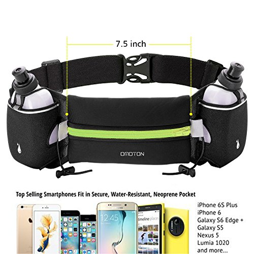 Hydration Running Belt with 2 Water Bottles, OMOTON Multifunctional Zipper Pockets Water Resistant Runner's Waist Pack, For Running, Race, Marathon, Hiking, Cycling, Climbing, Camping, Black