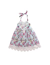 Baby Girl Lace Tulle Ruffle Tassel Floral Princess Halter Birthday Tutu Dress