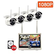 Isotect All-in-One Surveillance System Wireless Security Camera System Indoor Outdoor 1080p 8CH Video Security System with 2TB HDD,4pcs 1080p Bullet IP Cameras Built-in( with) 12-inch Monitor