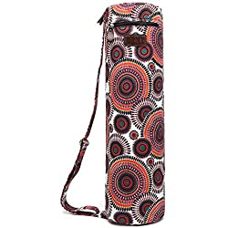 Yoga Mat Bag, Boence Full Zip Exercise Yoga Mat Sling Bag with Sturdy Canvas, Smooth Zippers, Adjustable Strap, Large Functional Storage Pockets - Fits Most Size Mats (Sunflower)