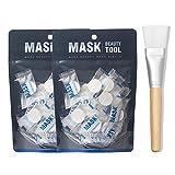 Facial Mask Egg Recipes - BLD Compressed Mask, Disposable Paper Sheet Mask for DIY Facial Treatment, Skin Care Wrapped Masks 2 packs, 28 pcs per pack + Mask Brush
