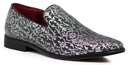 Enzo Romeo Spg Men's Vintage Satin Silky Floral Print Dress Loafers Slip On Shoes Classic Tuxedo Dress Shoes (10.5, Silver) (Silky Dress Satin)