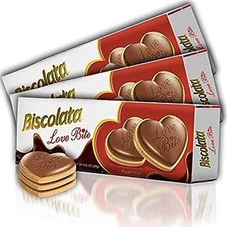 Biscolata Love Bite Chocolate Cookies with Hazelnut Cream Snacks Heart Shaped Cookies (Hazelnut) (3 Pack)