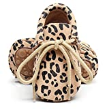 HONGTEYA Leather Baby Moccasins Lace Up Rubber Sole Crib Toddler Boots Shoes for Boys and Girls (US6M 12-18Months 13cm 5.12'' Toddler, Leopard)