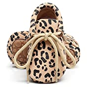 HONGTEYA Leather Baby Moccasins Lace up Rubber Sole Crib Toddler Boots Shoes for Boys and Girls (US6M 12-18Months 13cm 5.12  Toddler, Leopard)