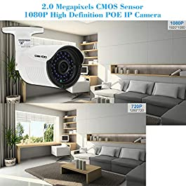 1080P HD POE IP Camera 2.0MP 3.6mm 1/2.8'' CMOS H.264 P2P Onvif 36 IR LEDs Night View IR-Cut Motion Detection Phone APP Control Home Security